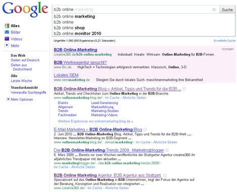 Google Instant Beispiel