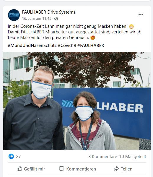 Facebook-Post FAULHABER mit Mitarbeitern