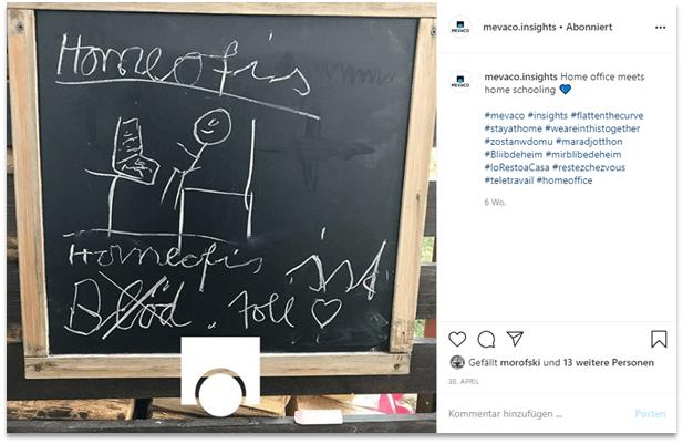 Instagram-Post MEVACO zum Thema Homeoffice